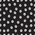 Imprint animal paws with claws, footprint seamless pattern, vector background, black and white illustration, monochrome