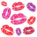 Imprint of the feminine lips Royalty Free Stock Photo