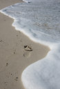 Imprint of the foot on the wet sand soon to be covered by waves Royalty Free Stock Photography