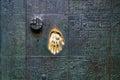 Imprint golden hand on the door, a symbol of fingerprint Royalty Free Stock Photo