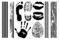 Imprint set evidence. Handprint, footprint, fingerprint, print of the lips, tire tracks. Isolated silhouette vector