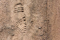 Imprint of the shoes on soil. Royalty Free Stock Photo