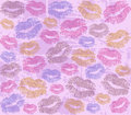 Imprints of lips vector background with the Royalty Free Stock Photo