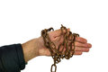 Imprisonment chain enchained hand over white concept Stock Images