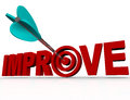 Improve arrow in target successful improvement goal an a bulls eye within the word symbolizing the reaching of a for improving Royalty Free Stock Image