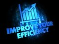 Improve your efficiency on digital background with growth chart blue color text dark Stock Images
