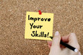 Improve your skills woman hand writing note Stock Photography