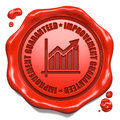 Improvement guaranteed stamp on red wax seal slogan with growth chart icon isolated white business concept Royalty Free Stock Image