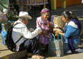 Improvised breakfast mexico happy mexican family with baskets having frugal picknick after market day Stock Photos
