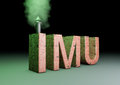 Imu imposta municipale unica d rendering of a text made of bricks with a smoking chimney is the new italian tac on properties Royalty Free Stock Photo