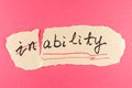 Inability to ability
