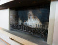 Inactive fireplace cleaned made of stone Royalty Free Stock Photography