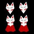 Inari Fox Kitsune White Face with Red Mark