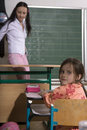 Inattention girl life at school first class children learning Royalty Free Stock Photo