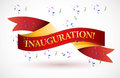 Inauguration red waving ribbon banner illustration design over white Stock Photos