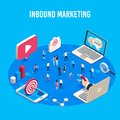 Inbound marketing isometric. Online mass market ads, business target sales ad and offline sale advancement vector