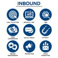 Inbound Marketing Vector Icons with CTA, Growth, SEO, etc.