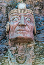 Inca face sculpture peruvian andes puno peru in the at Stock Photo