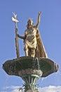 Inca statue over fountain of the pachacutec the at the plaza de armas in cuzco peru Stock Photos