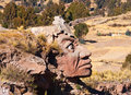 Inca stone face puno peru Royalty Free Stock Photo