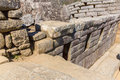 Inca wall in machu picchu peru south america example of polygonal masonry the famous angles stone ancient architecture Stock Images