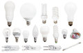 Incandescent compact fluorescent halogen lamps set of led light bulbs isolated on white background Royalty Free Stock Image