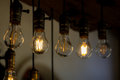 Incandescent light bulb in the row Royalty Free Stock Photo