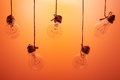 Incandescent light bulbs hanging on a orange background Royalty Free Stock Photo