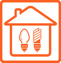 Incandescent and mercury lamp in home bulb symbol with house Stock Photo