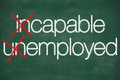 Incapable unemployed concept handwritten on the school blackboard Royalty Free Stock Photos