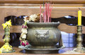 Incense burner the and candles Stock Image