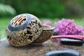 Incense burner in garden Royalty Free Stock Photo