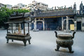 Incense burners in front of Renwei Temple Royalty Free Stock Photo
