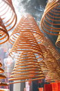Incense coils hanging in the temple Royalty Free Stock Photo