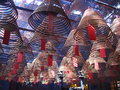 Incense coils in man mo temple hong kong burning inside Royalty Free Stock Photo