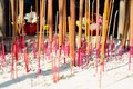 Incense sticks are burned for worship in taoism it s a religion activity Royalty Free Stock Photo
