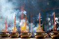 Incense sticks in pagoda Stock Photos