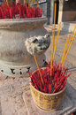Incense in temple chinese with rock pot Stock Photography