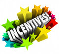 Incentives d word stars fireworks advertising promotion rewards in letters within colorful or a special of or enticement to buy or Royalty Free Stock Photos