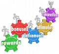 Incentives rewards bonuses customers workers climbing heigher and related words like stimulus and entincements on gears with Royalty Free Stock Photography