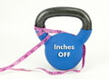Inches off a blue kettle bell with the text with a purple measuring tape wrapped around it isolated on white Stock Photo