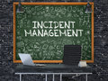 Incident management hand drawn on green chalkboard in modern office workplace illustration with doodle design elements d Stock Image