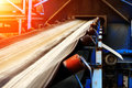 Incline conveyor with rubber belt Royalty Free Stock Photo
