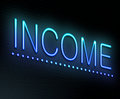 Income concept illustration depicting an illuminated neon sign with an Stock Photo