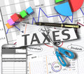 Income tax as a concept in the background graphs Stock Photography
