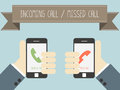 Incoming call and missed call on smartphone vector Stock Images