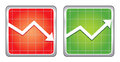 Increase decrease icons red glossy Stock Image