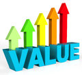 Increase value means up worth and valuable representing valued advance importance Royalty Free Stock Photos