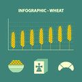 Increase wheat prices infographic with graph of and bakery icons in flat design Stock Photography