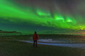 Incredible bright northern lights. Royalty Free Stock Photo